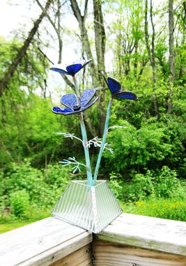 Custom Made Anemone In Cobalt Blue Stained Glass Industrial Flower Sculpture