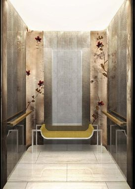 Custom Made Bronze And Resin Magnolia Artwork Elevator Wall Panels For Hotel In China