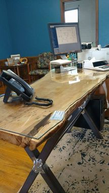Custom Made Live Edge Slab & Steel Desk X Frame