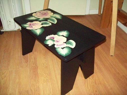 Custom Made Black Bench / Step-Stool With Roses