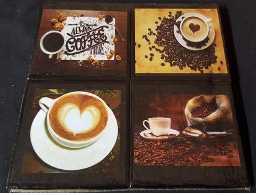 Custom Made Coffee Lovers Ceramic Tile Drink Coaster Set