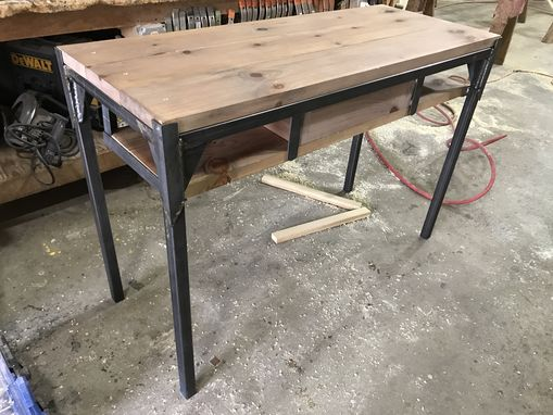 Custom Made Industrial Square Tube Steel And Reclaimed Pine