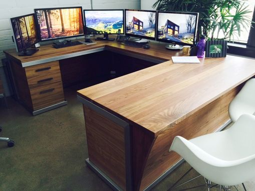Custom Steel And Walnut Contemporary Desk Workstation By