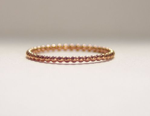Custom Made One 14k Rose Gold Filled Dotted Skinny Handmade Stacking Ring