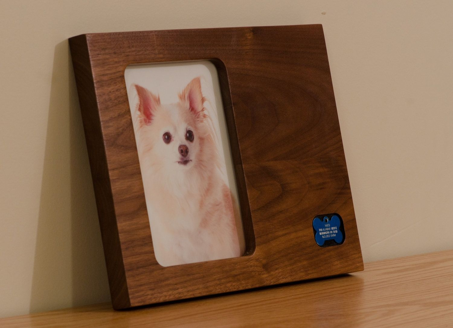 Hand Crafted Pet Keepsake, Modern Picture Frame, Id Tags Holder, Pet ...