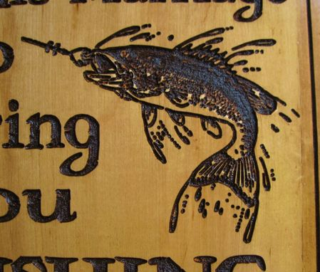 Custom Made Rustic Wood Carving Fishing Season Sign - Great For The Man Cave, Cottage, Lodge