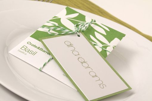 Custom Made Wedding Place Card Tag - Garden Seating Card - Escort Card With Metallic Backing