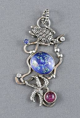 Custom Made Nautical Silver Pendant With Dichroic Glass And Pink Touraline (Turtle And Starfish)