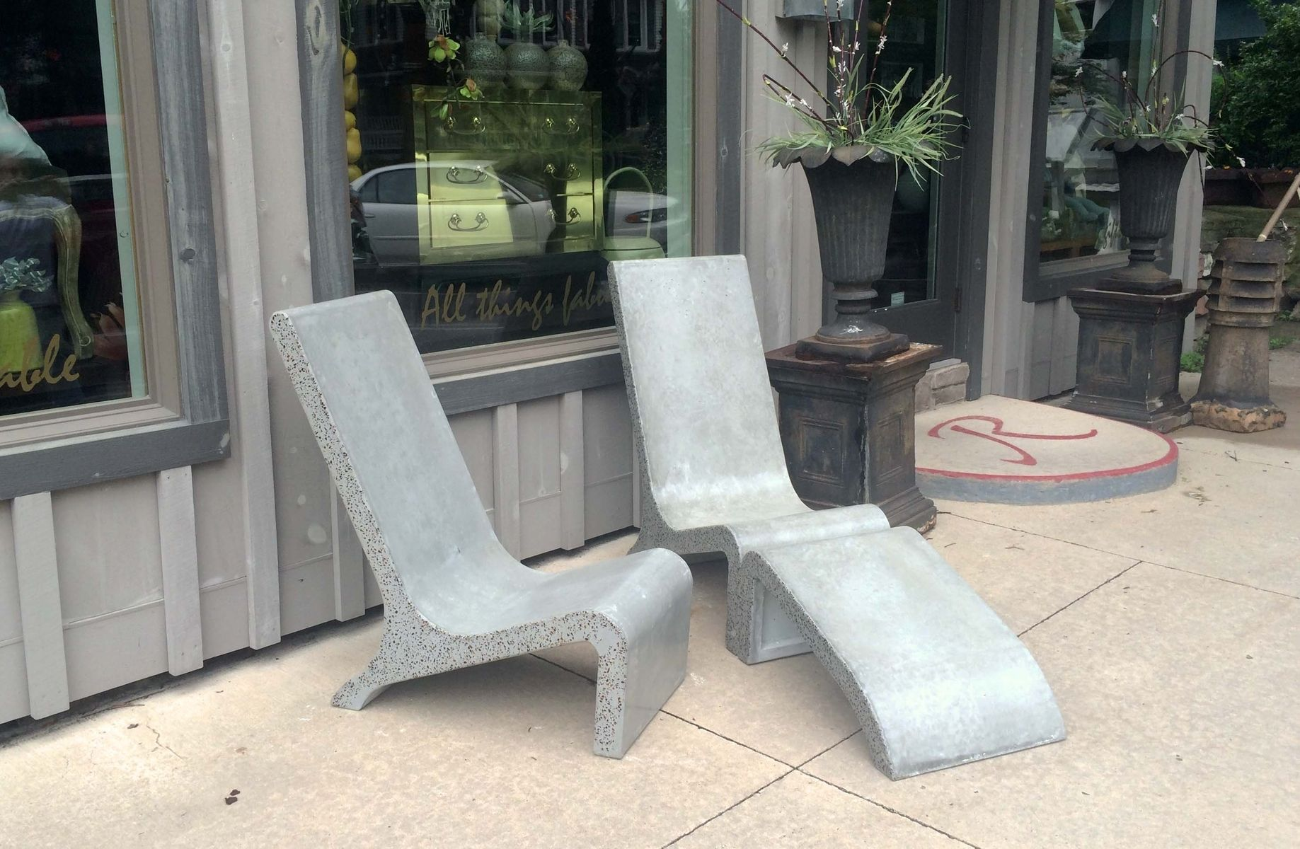 custom made concrete adirondack chairmasonry and metal l.p.