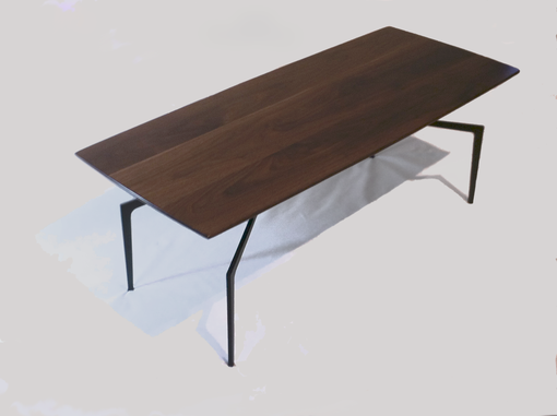 Custom Made Walnut Coffee Table With Steel Spider Legs.  Modern, Danish, Mid-Century Design Influence.