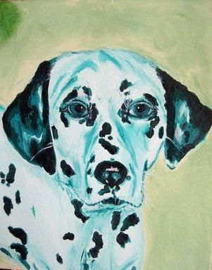 Custom Made Green Dalmatian Face Oil Painting