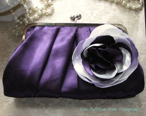 Custom Made Purple Pleated Bridal Clutch Purse With Ivory And Lavender Floral Accent