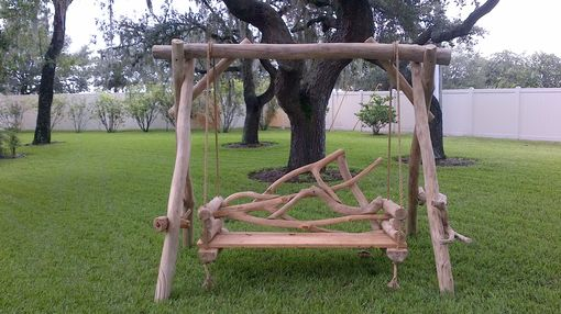 Custom Made Natural Patio Swing With Branch Back