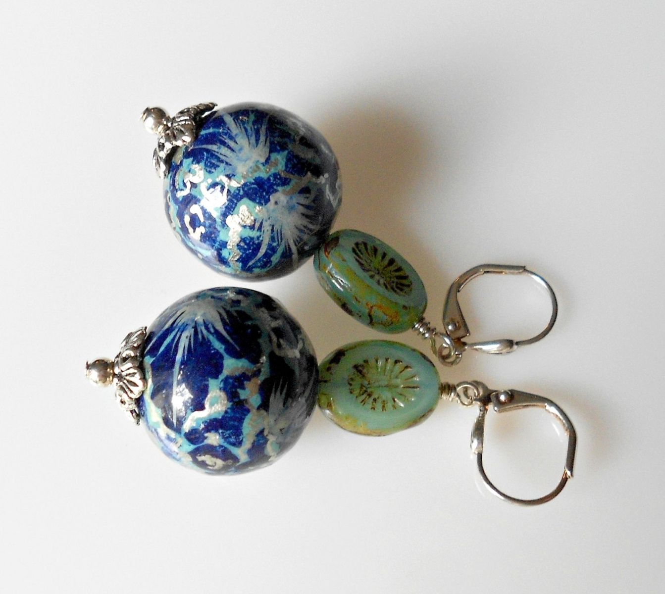Custom Made Earrings Paper Mache Beads In Cobalt Silver And Light Aqua With Czech Glass