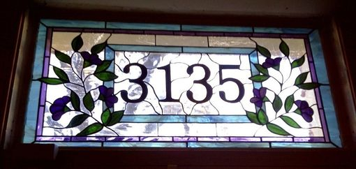 Custom Made Stained Glass Transom - Traditional Floral (Am-13)