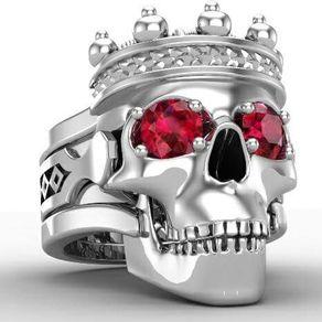 the king skull ring in silver - Mens Skull Wedding Rings