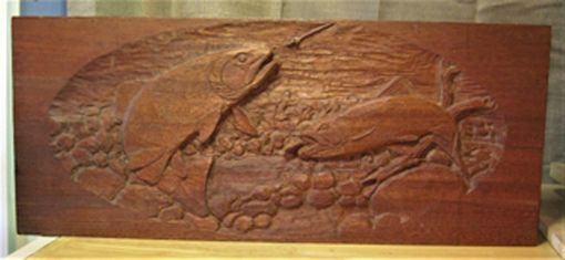 Custom Made Trout Stream Relief Carving- Honduras Mahogany