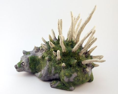 Custom Made Moss And Bone Bear Sculpture