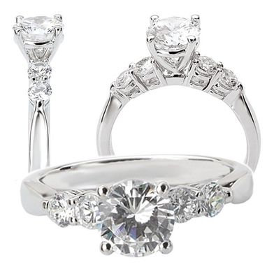 Custom Made 18k White Gold 5-Stone Diamond Engagement Ring Semi-Mounts, Holds 6.5mm Round Center