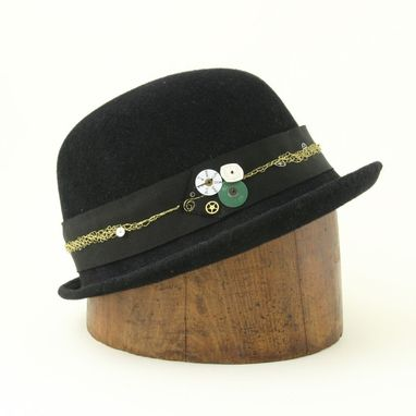 Custom Made Steampunk Black Bowler Hat, Mrs. Tick Tock