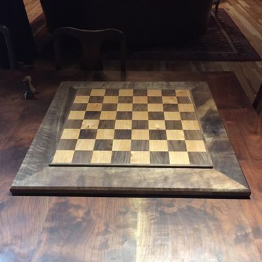 Custom Made Black Walnut And Maple Chessboard