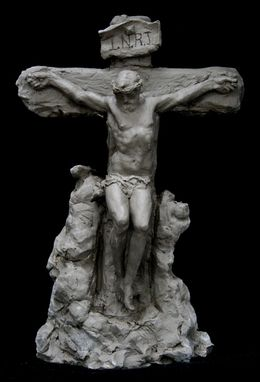 Custom Made Crucifixion Sculpture.  8 Inch Tall Crucifix.