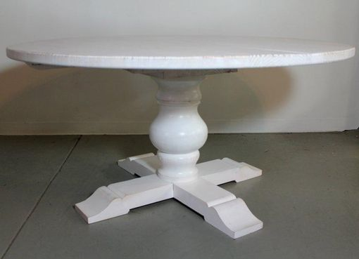 Custom Made White Round Farm Table With Tuscany Pedestal