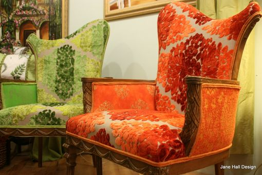 Custom Made Upholstered Chairs Carved Asymmetrical Carved Arm Chairs