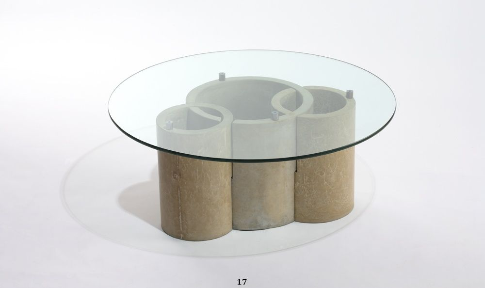 Hand Crafted Concrete And Glass Coffee Table By Castings - Concrete and glass coffee table