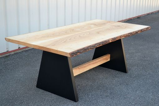 Custom Made Live Edge Ash Table With Modern Style Base