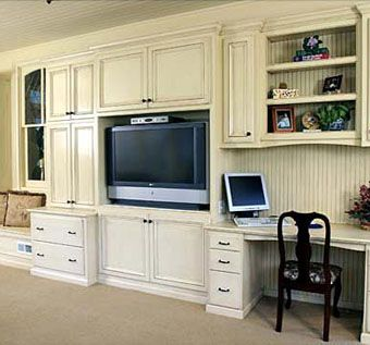 Custom Made Custom Built-Ins With Antique Glaze