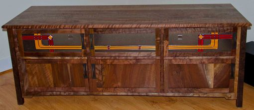 Custom Made Oregon Walnut Tv Stand With Stained Glass Doors
