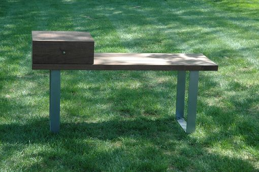 Custom Made Walnut & Steel Entryway Bench