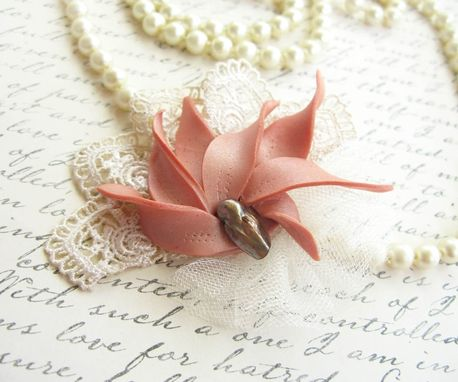 Custom Made Salmon Polymer Clay Flower And Freshwater Pearl - Lace Brooch - Accessorize Anything