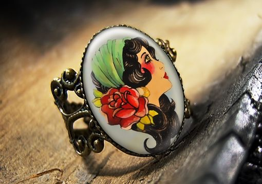 Custom Made Vintage Beauty Traditional Tattoo Bronze Ring 269-Bfr