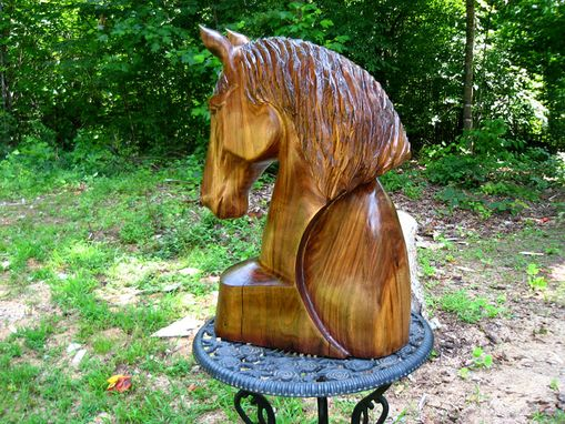 Custom Made Warmblood Horse Head With Arc Walnut Wood Sculpture