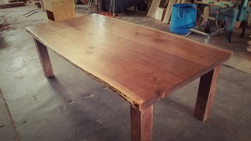 Custom Made Bookmatched 3-Slab Live Edge Walnut Table With Walnut Base