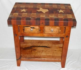 Custom Made Mesquite Texas Star Butcher Block Table