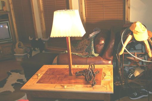 Custom Made Longhorn End Table With Lamp