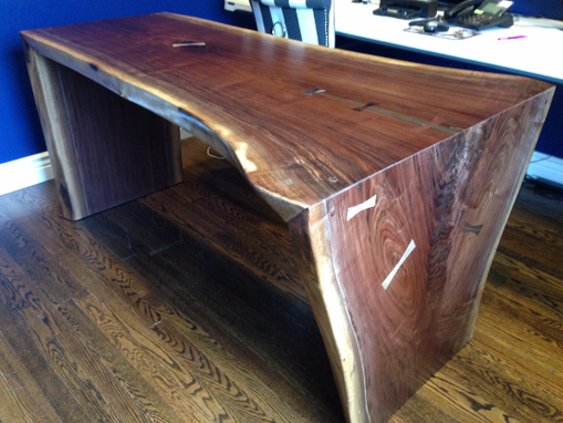Custom Made Live Edge Slab Waterfall Desk - Walnut With Brass Accent