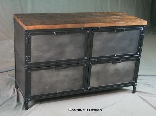Buy A Hand Made Modern Industrial File Cabinet Reclaimed Wood Distressed Steel Filing