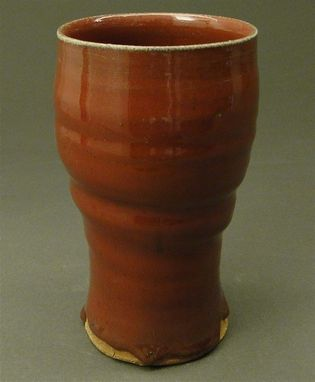 Custom Made Pottery Tall Beer Cup Glazed With A Copper Red Glaze, (Sku 44)