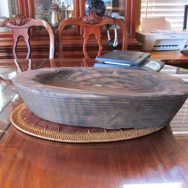 Custom Made Primitive Carved Large Wood Oval Tray