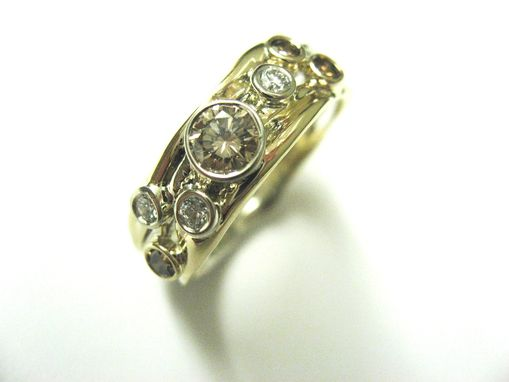 Custom Made Custom Wedding Ring In Gold With Champagne And White Diamonds