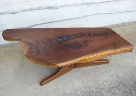Custom Made Walnut Slab Coffee Table Inlaid