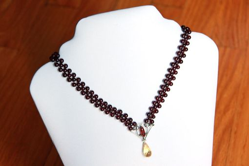 Custom Made Hand Woven Garnet Necklace With Garnet And Citrine Briolette Drop.
