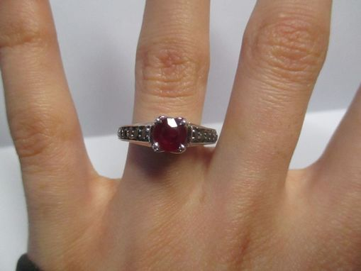Custom Made Interlocking Hearts Ruby And Black Diamond Engagement Ring In 14k White Gold