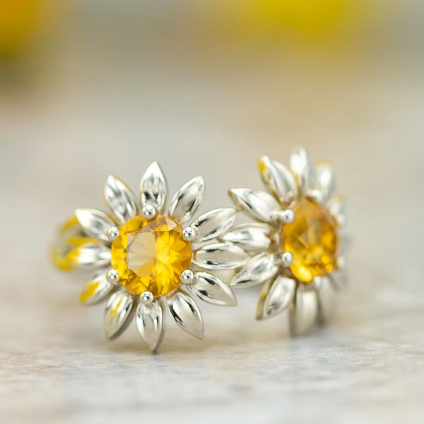 Two-flower sunflower engagement ring with citrine.