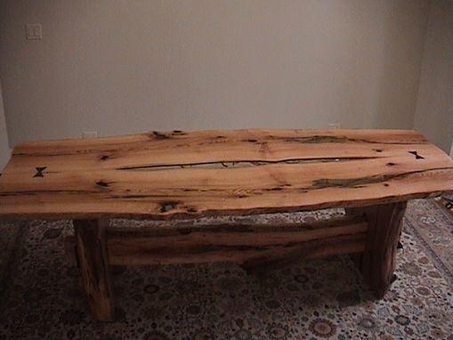 Custom Made White Oak Dining Table With Split Log Base & Stretcher