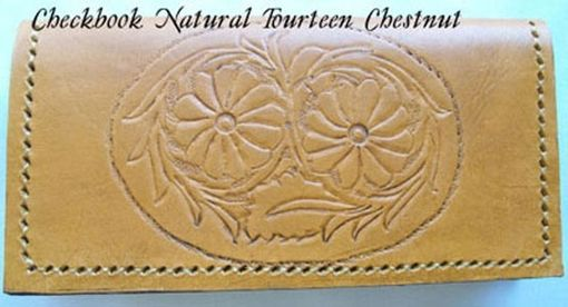 Custom Made Custom Leather Checkbook Cover With Natural 14 Design And In Chestnut Stain